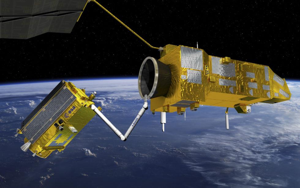Simulation eines robotischen Arms, der im All Satelliten einsammelt