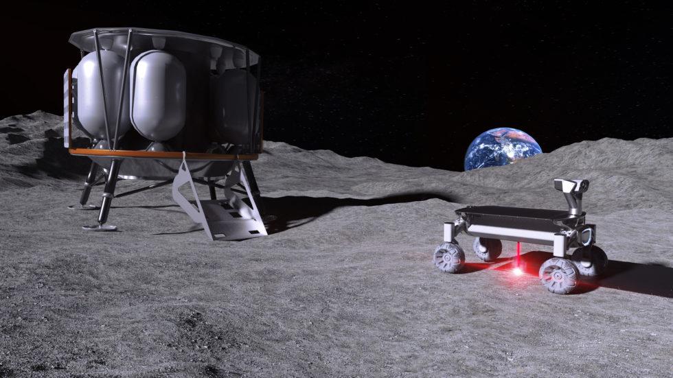 Grafik der Moonrise-Technologie im Einsatz mit Mondlandefähre Alina und einem Rover