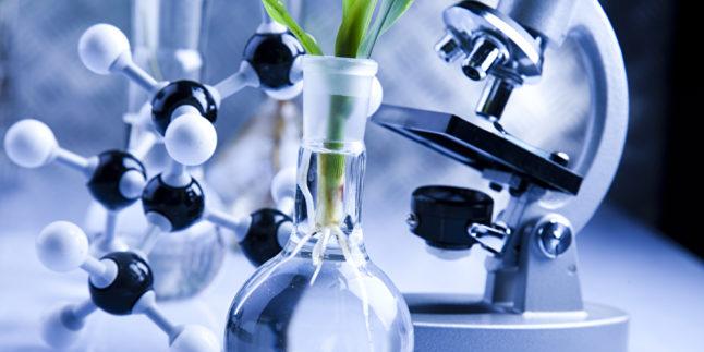 Labor mit Atommolekülen und Pflanazenreagenzglas
