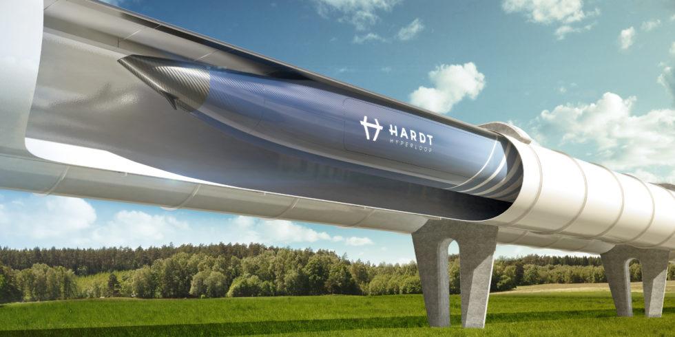 Abbildung des Hyperloop-Tunnels mit Kapsel