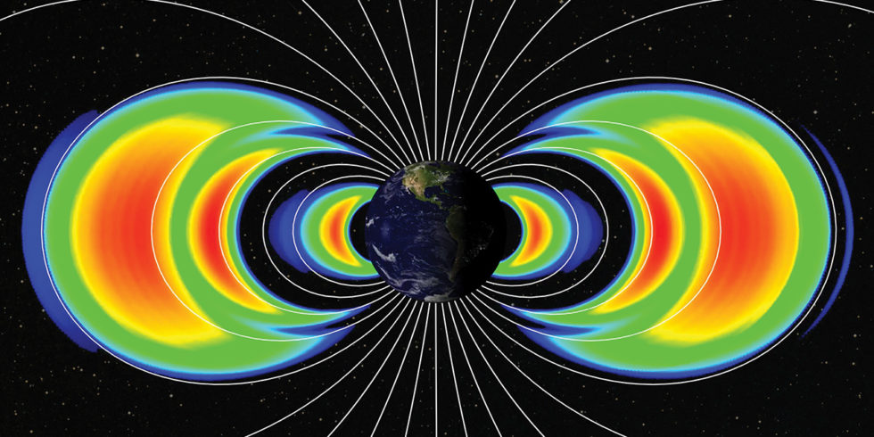 Grafische Darstellung der Bänder des Van-Allen-Gürtels um die Erde herum
