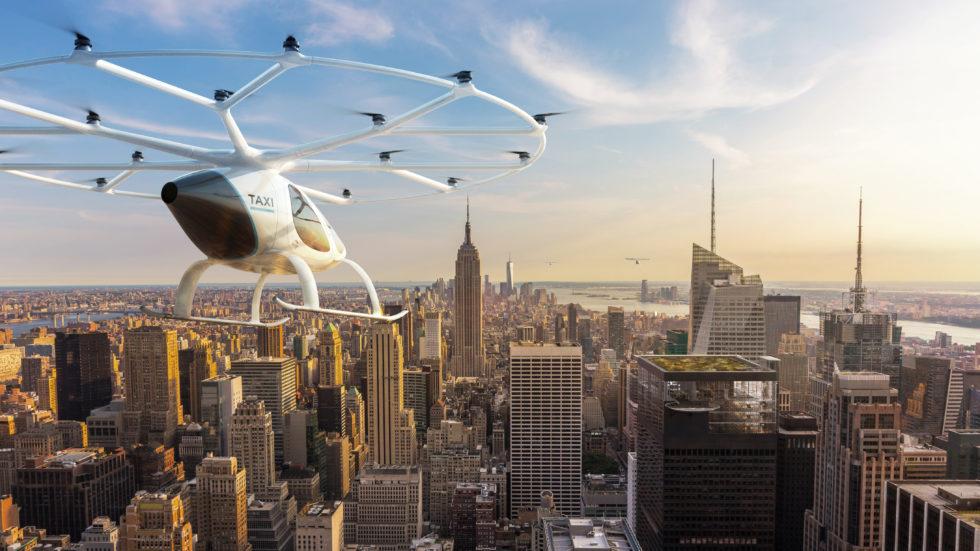 Das Unternehmen Volocopter zeigt, wie es sich die autonome Elektromobilität in Städten zukünftig vorstellt.