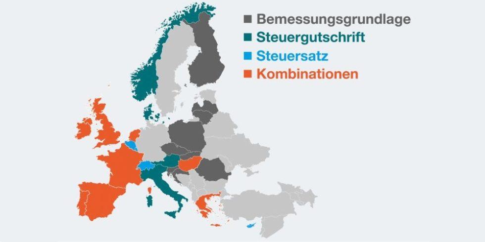 EU-Landkarte zeigt, welche Länder steuerliche Forschungsförderung nutzen
