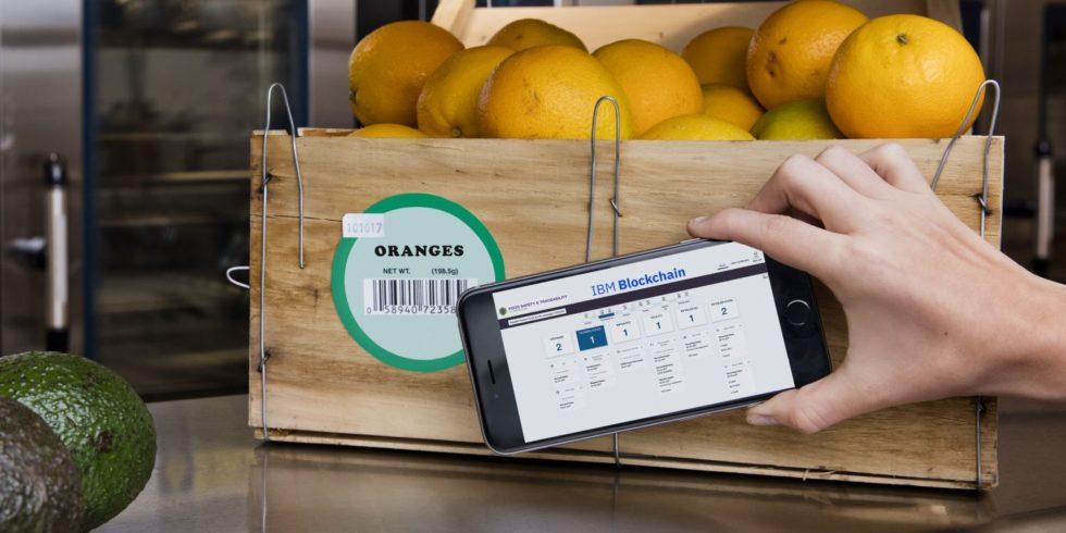 Smartphone scannt Barcode auf einer Kiste voller Orangen