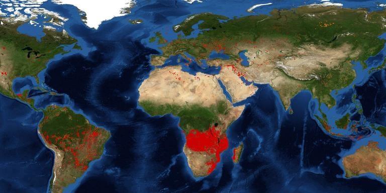 Weltkarte Nasa Bild Brand