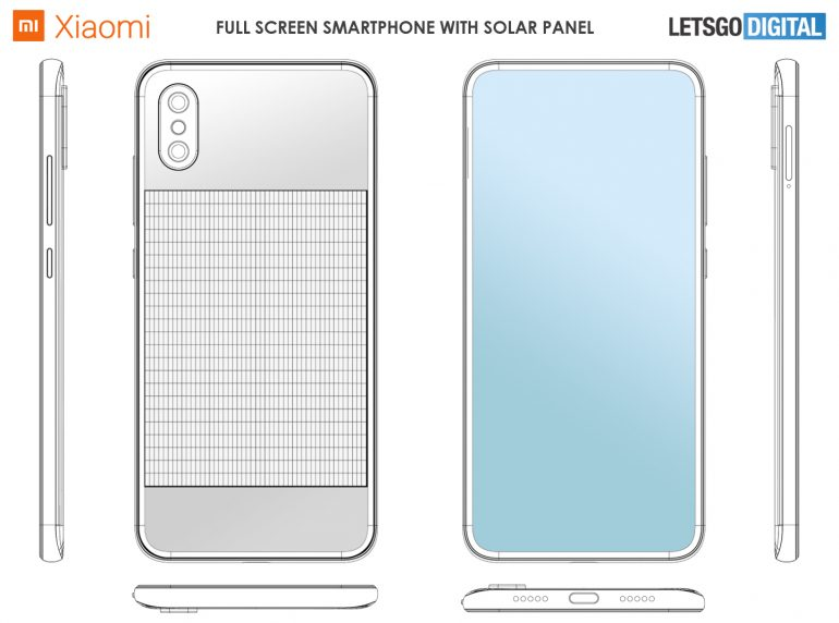 Skizze Xiaomi Full Screen Smartphone mit Solarpanel
