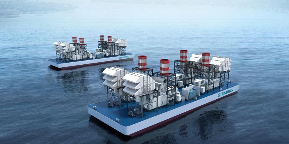 Zwei schwimmende SeaFloat-Kraftwerke, die mit jeweils vier SGT-A65 Gasturbinen ausgestattet sind