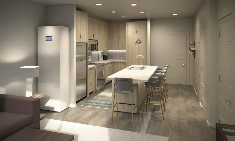 Küche Solarwohnung weiße Einrichtung