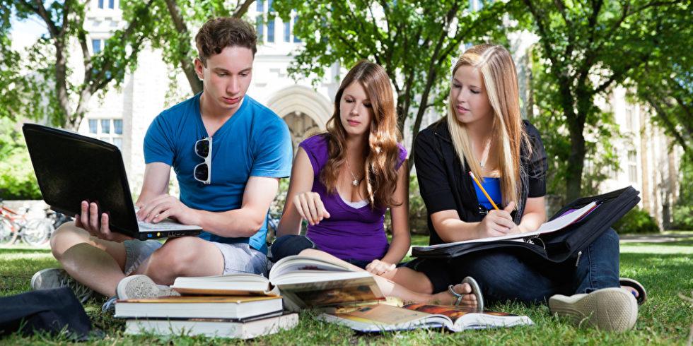 junge Menschen sitzen mit Laptop und Büchern im Park / Campus