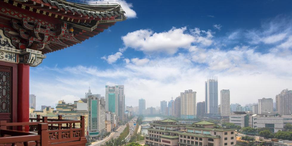 Blick vom Tengwang Pavillon in Nenchang, china