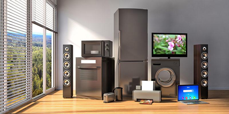 Haushaltsgeräte. Gasherd, tv Kino, Kühlschrank, Mikrowelle, Laptop und Waschmaschine