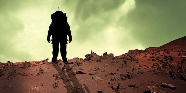 Illustration eines Astronauten auf dem Mars