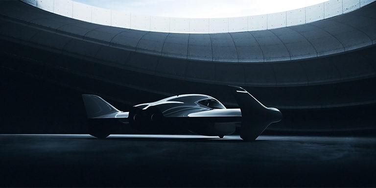 Dunkles E-Flugzeug auf dem Boden von Porsche und Boieng