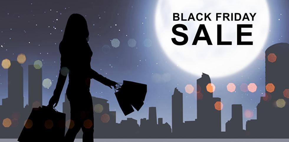 Silhouette Frau Einkaufstüten am Black Friday