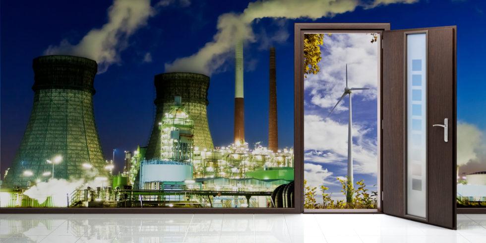 Kraftwerk mit Tür zur Windenergie