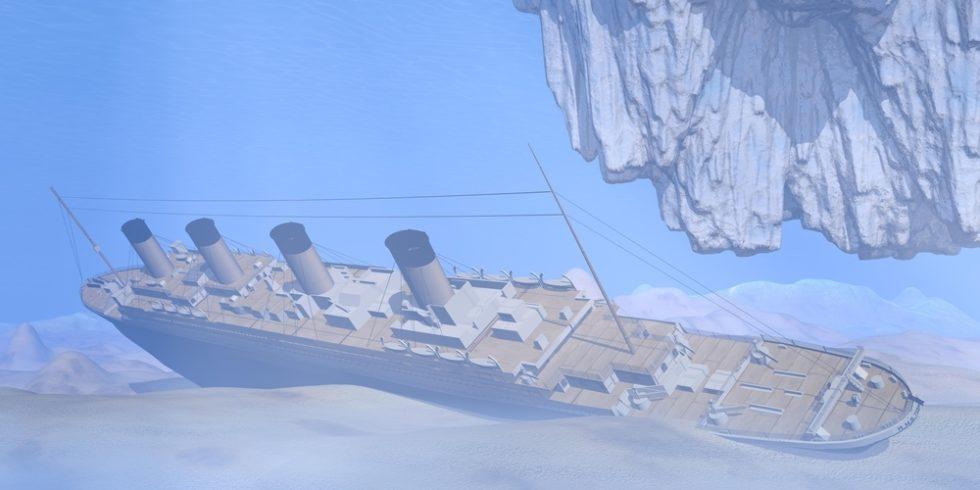 Berühmte titanic Schiff unter Wasser tief in den Ozean neben Eisberg nach dem Untergang