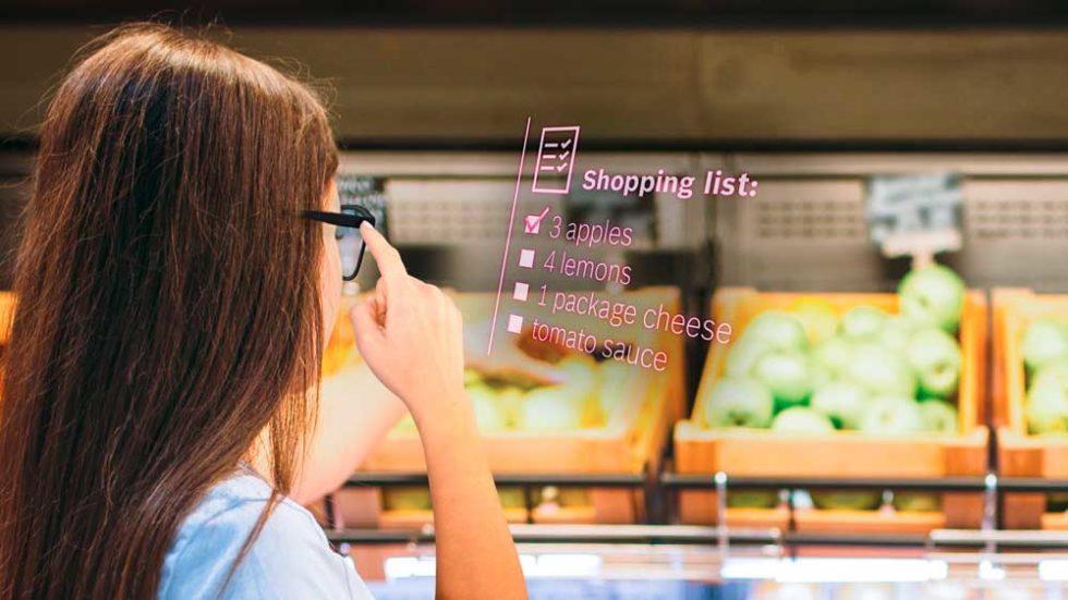 Smartglass zeigt Einkaufsliste an