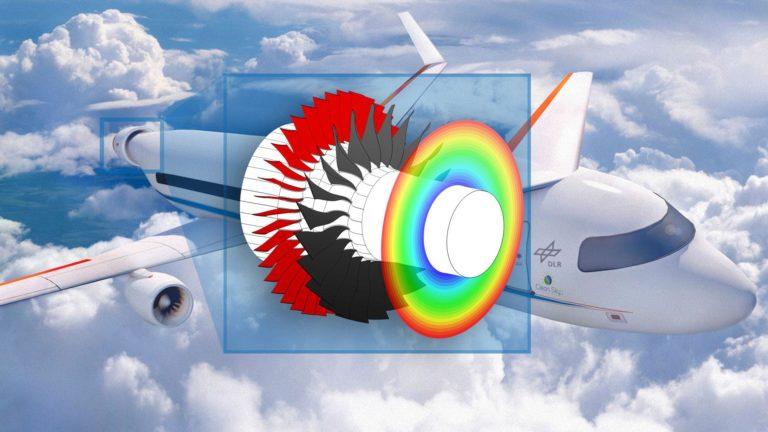 Die Skizze zeigt ein elektrisches Triebwerk eines Passagierflugzeugs.