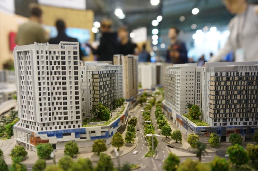 Miniatur einer grünen, smarten Stadt.