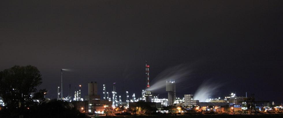 Blick von Mannheim auf die BASF.