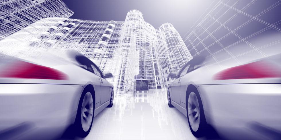 zwei Autos auf digitalem Highway