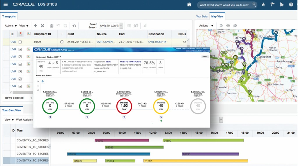 Bild 3 Screenshot TMS-System mit Transportstatus. Bild: Oracle