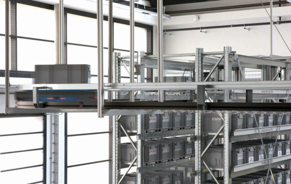 ntelligente Produktions‧logistik: Autonome Transportroboter mit kleinen Behältern und geringen Inhaltsmengen verwirklichen das Prinzip Fluss. Bild: Prof. Dr. Markus Schneider