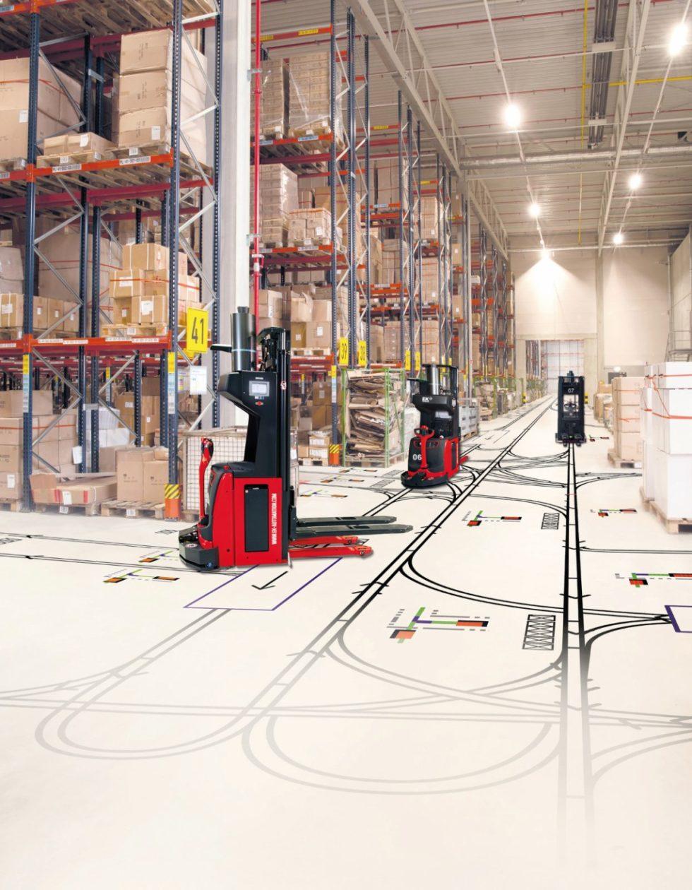 Mit Simulation lassen sich Fahrerlose Transportsysteme (FTS) auf räumliche Gegebenheiten und maximale Produktivität abstimmen. Bild: EK Automation