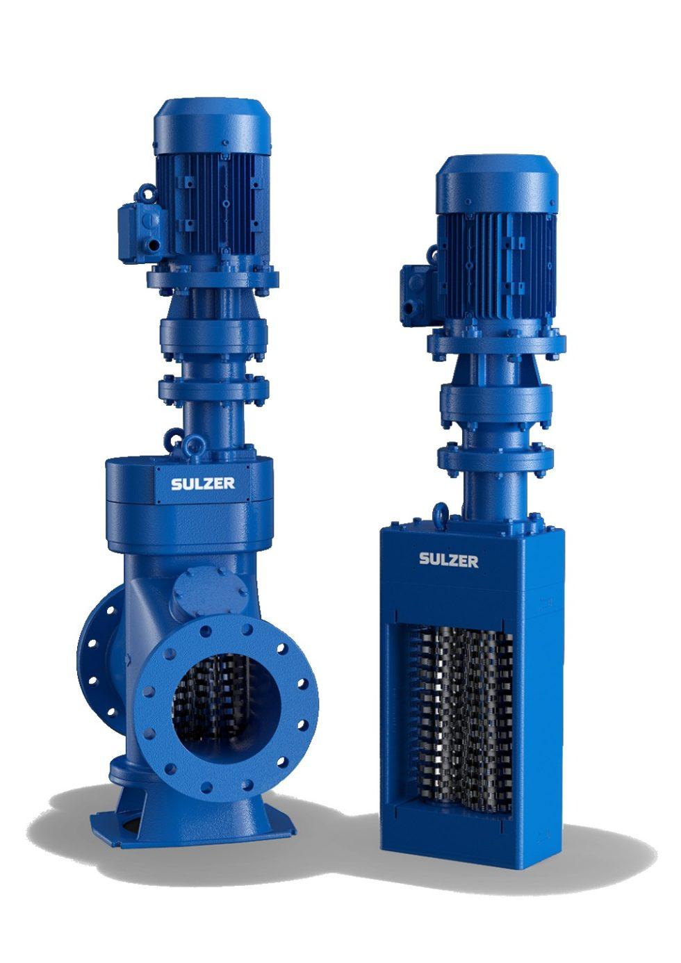 """Die """"Muffin Monster"""" von Sulzer sind kompakte robuste Zerkleinerer für Anwendungen im Schlamm- und Abwasserbereich. Der Zulauf ‧erfolgt über eine Rohrleitung (links) oder über einen offenen Kanal (rechts). Bild: Sulzer"""