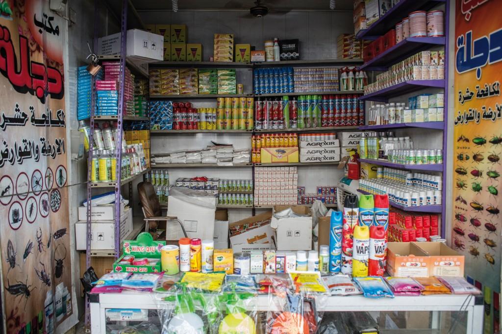 Giftige Chemikalien aller Art in einem kleinen Shop im Irak. Bild: UN Environment