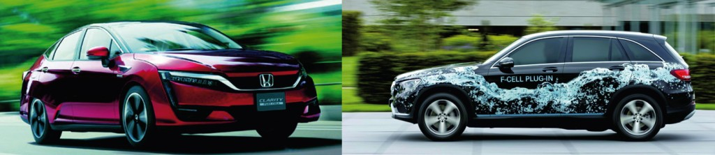 Bild 2 Honda Clarity Fuel Cell (links) und Daimler GLC F-Cell. Bild: www.world.honda.com, www.blog.mercedes-benz-passion.com