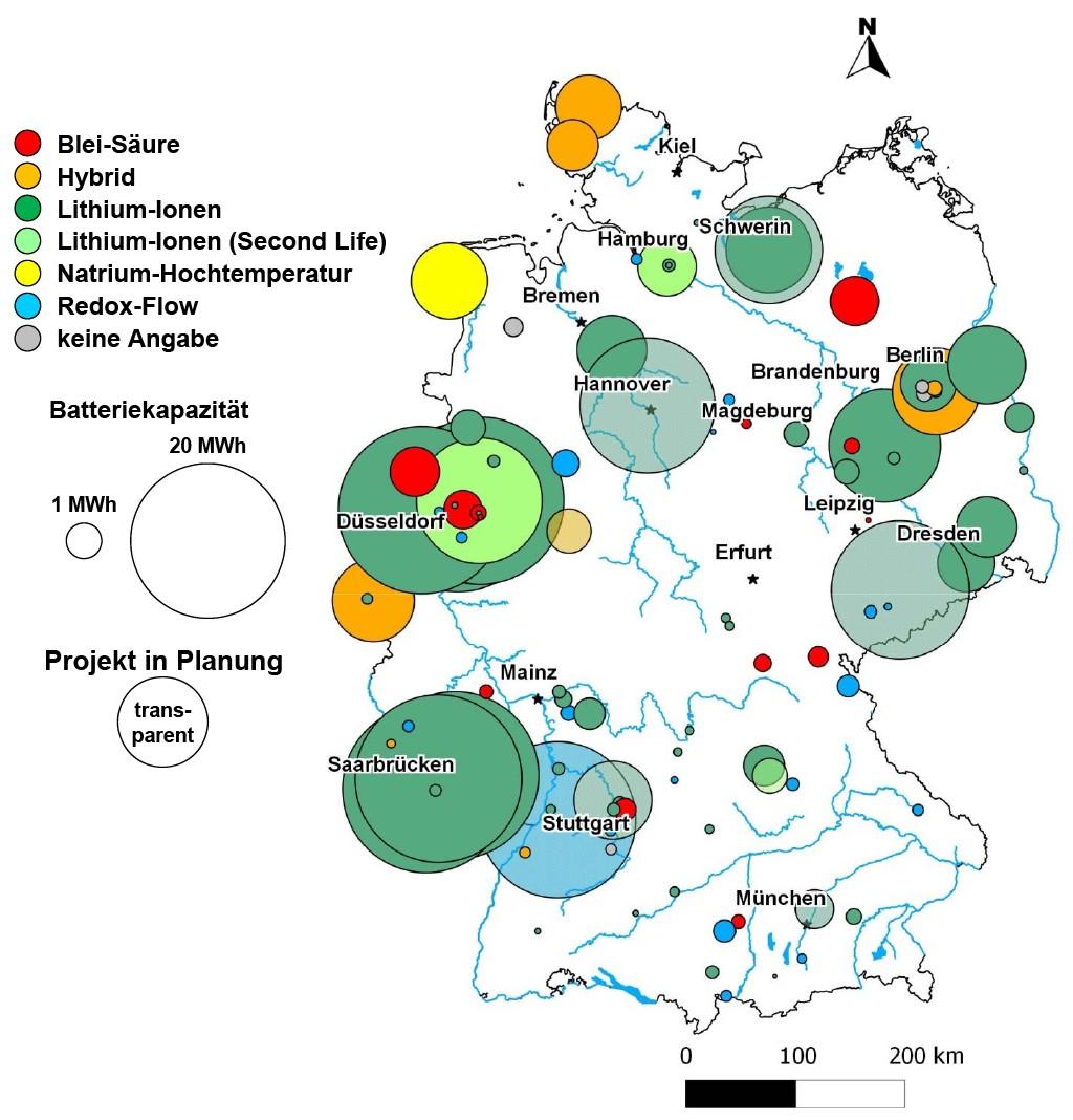 Bild 1 Stationäre Batteriespeicher in Deutschland (Quelle: FZJ Datenbank). Bild: eigene Darstellung