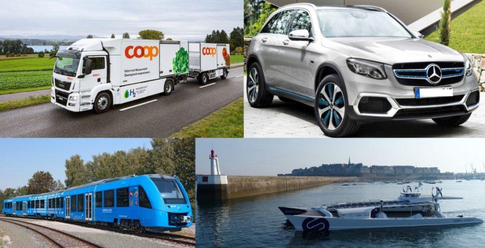 Zunehmende Anwendungsbreite der Brennstoffzellentechnologie in 2017. Bild: www.coop.ch, www.mercedes-benz.com, www.alstom.com, www.energy-observer.org (von oben links nach unten rechts).