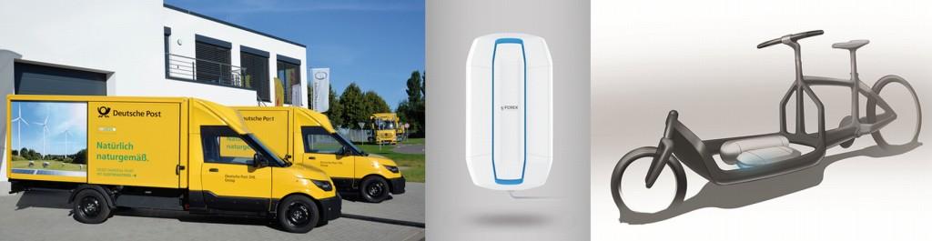Bild 7 StreetScooter Work L (links) und Fuel Cell Range Extender (FCREX) für Lastenfahrräder (Mitte und rechts). Bild: www.dpdhl.com (links), DLR (Mitte und rechts)