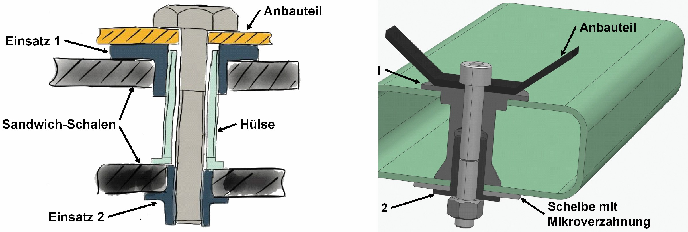 Bild 5: Konzeptdarstellung (links); CAD-Modell für die Prototypenfertigung (rechts). (Bild: BMW AG)
