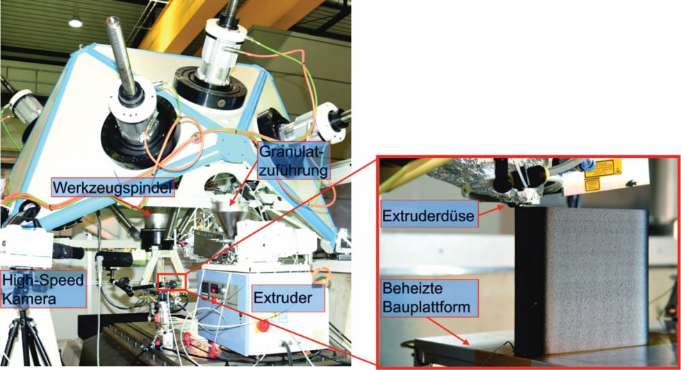 Bild 1 SEAM-Versuchsaufbau: Extrusionsbasierte Plastifiziereinheit zur Verarbeitung von Kunststoff-Standardgranulaten in Kombination mit einer Pentapod 5-Achs-Parallelkinematik von Metrom. Bild: Fraunhofer IWU