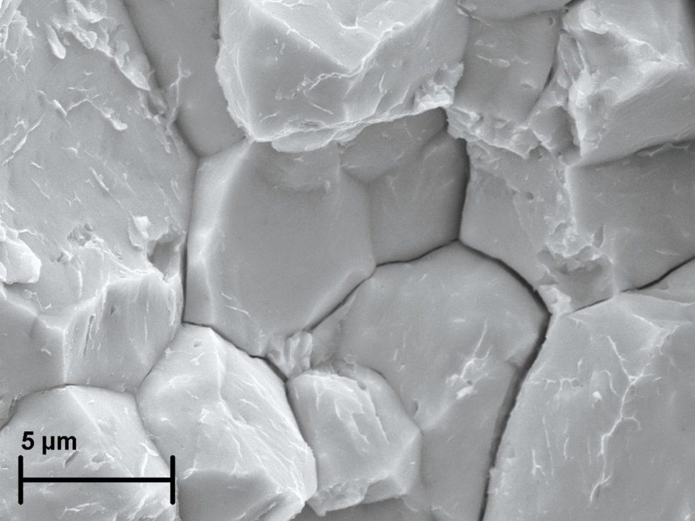 """Bild1 Rasterelektronenmikroskopische Aufnahme einer Bruchfläche mit den typischen Anzeichen eines durch die Wasserstoffversprödung verursachten Versagens wie interkristalline Risse (klaffende Korngrenzen), """"Krähenfüße"""" (Strukturen auf den Kornflächen) und eine Grübchenbildung. Bild: Fraunhofer IWM"""