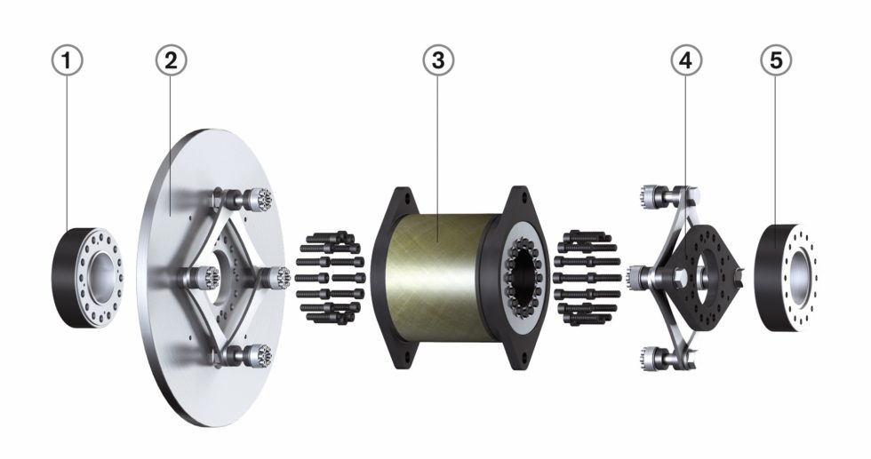 """Bild 1 """"Radex-N""""-Stahllamellenkupplung: Das KTR-Kupplungssystem ist bereits in Tausenden von Windenergieanlagen im Einsatz. 1 = Spannsatz, Getriebewelle; 2 = Bremsscheibe mit Lammellenpaket; 3 = GFK-Zwischenstück mit Überlastsystem; 4 = Generatorflansch mit Lamellenpaket; 5 = Spannsatz, Generatorwelle. Bild: KTR"""