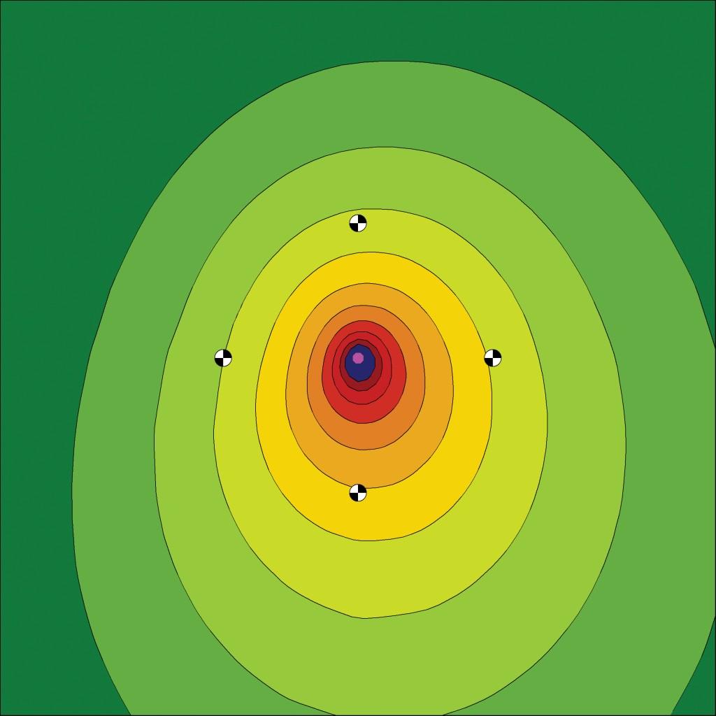 Bild 2 Maschine mit ringsum bekannten Schalldruckpegeln als punktförmige Schallquelle mit Richtwirkung.