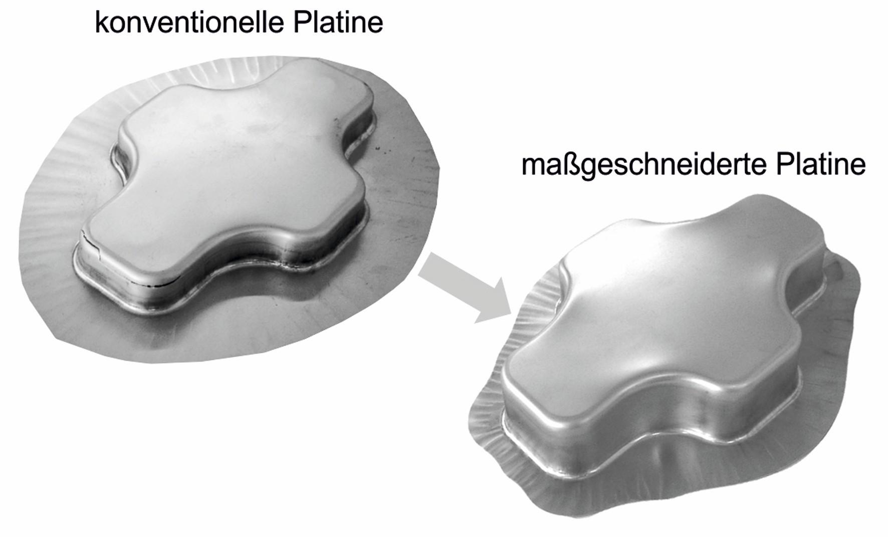 Bild 2 Vergleich von konventionellen und maßgeschneiderten Platinen am Beispiel eines tiefgezogenen Kreuznapfes. Bild: Friedrich-Alexander-Universität Erlangen-Nürnberg