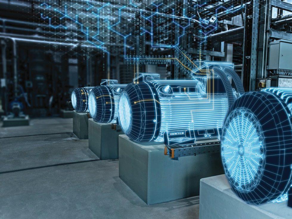 Auch die Motoren Simotics SD Pro profitieren von der Digitalisierungsstrategie von Siemens. Schon heute tragen sie einen Data Matrix-Code, der unter anderem mit der Simotics-Digital-Data-App ausgelesen werden kann und zu weiteren wichtigen Informationen führt. Bild: Siemens