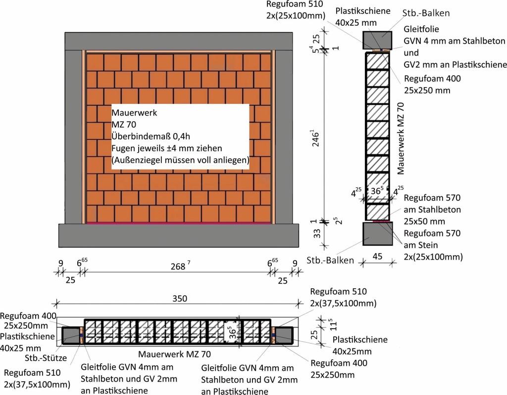 Bild 4. Ausgefachter Stahlbetonrahmen für den Versuch DIO mit Mauerwerk aus MZ 70 und Entkopplungssystem Abb.: Butenweg, Marinković