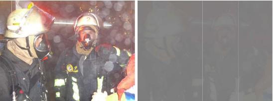 Sicht eines Feuerwehrmanns in der raucharmen Schicht (l. ) und in einem nur wenige Minuten nach Brandbeginn bereits verrauchten Raum (r.). Bild: FVLR