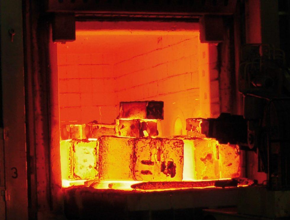 Bild 1Schmiedeofen bei der Gustav Grimm Edelstahlwerk GmbH & Co. KG. Bild: Grimm/BFI