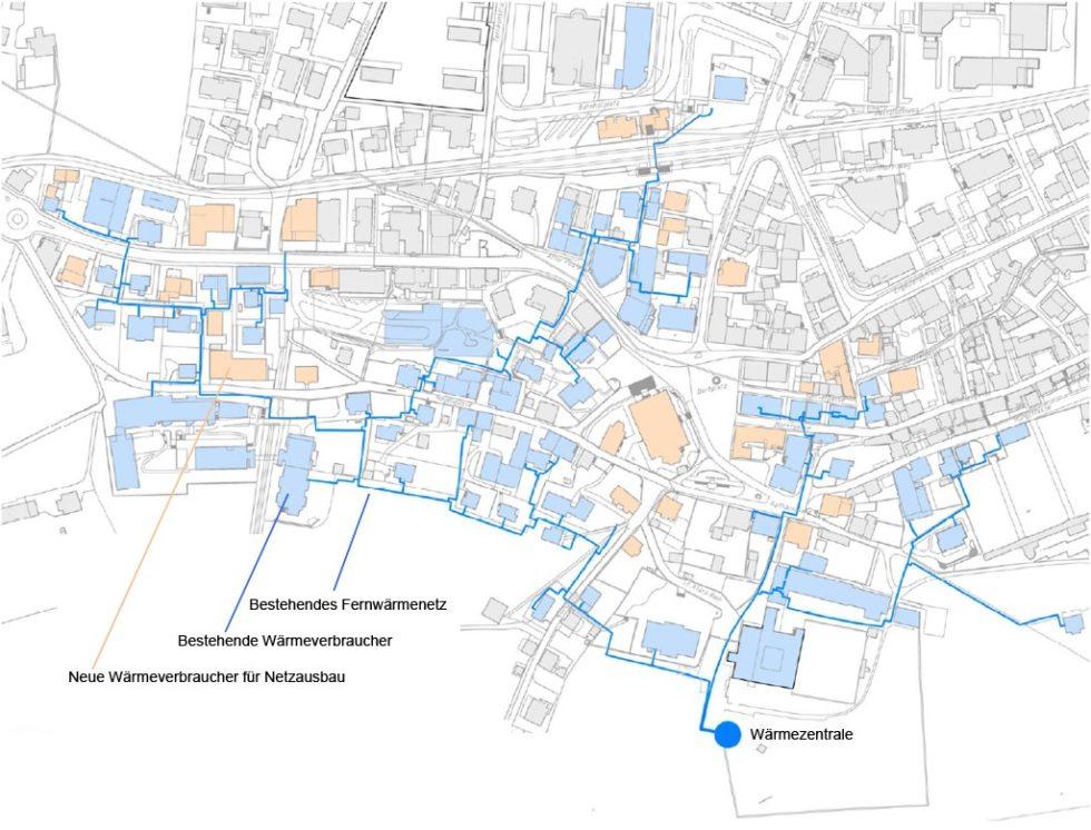 Ortschaft mit Fernwärmenetz und Optionen zur Netzerweiterung. Bild: eigene Darstellung