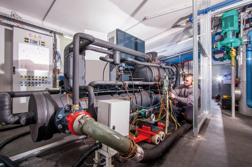 Prüfstand für Hochtemperaturwärmepumpen der Ochsner Energie Technik GmbH. Bild: Ochsner Energie Technik
