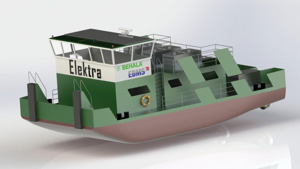 """CAD-Entwurf des hybriden und vollelektrischen Schubschiffes """"Elektra"""". Bild: TU Berlin"""