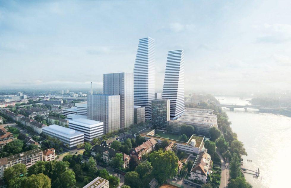 Roche baut mit BIM bis 2022 auf dem Firmengelände in Basel ein zweites Bürohochhaus. Abb.: Roche Ltd