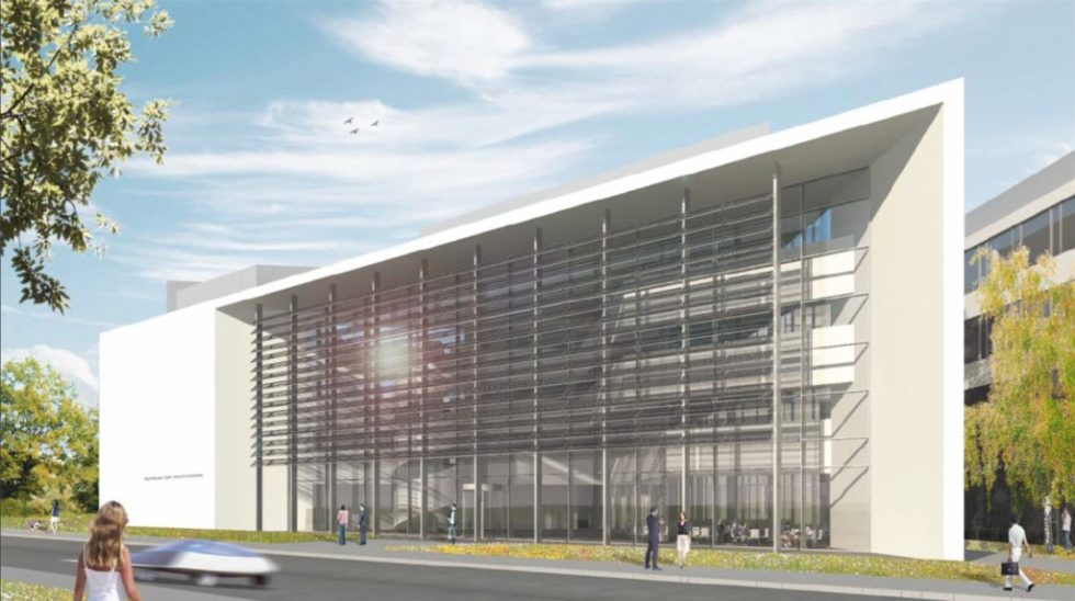 Für den Neubau des Zentrums für Photovoltaik und erneuerbare Energien setzten die Planer komplexe Geometrien um. Abb.: Architekturbüro HENN