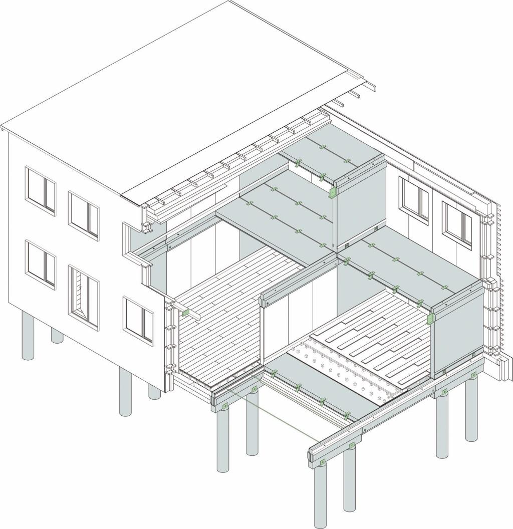 Aus nur vier Arten von Platten- und Wandelementen entsteht das recycelfähige Gebäude. Abb.: Peikko